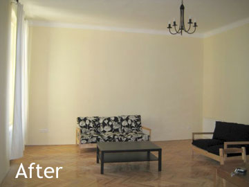 Living room after renovation and furnishing